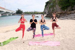 Beach yoga in Okinawa